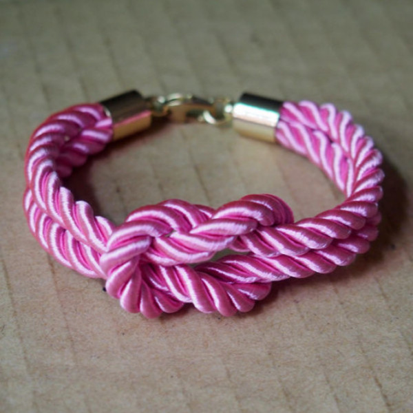 jewels rope bracelet knotted bracelet nautical bracelet pink bracelet vintage bracelet girl bracelet for women