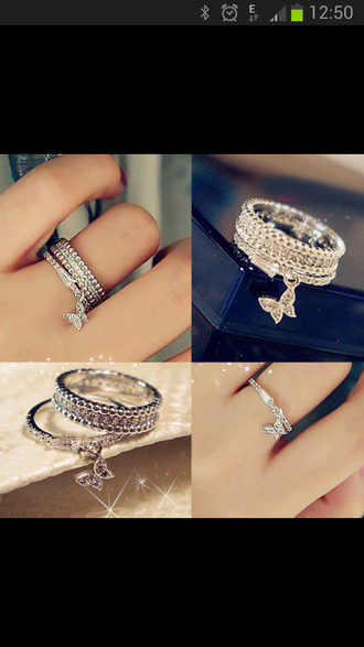 jewels finger double ring silver ring stars ring ring engagement ring colorful ring