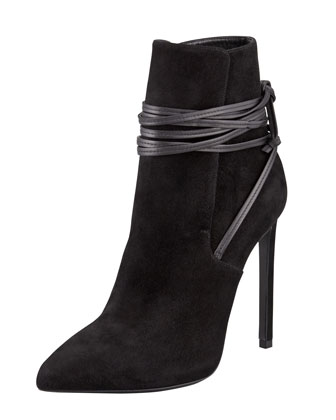 Saint Laurent Point-Toe Leather-Wrap Suede Ankle Boot, Black - Bergdorf Goodman