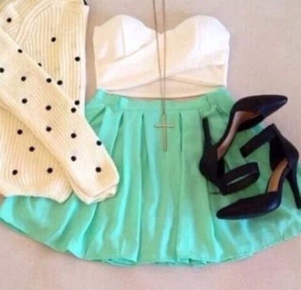 shirt white bandeau aqua skater skirt polka dots sweater skirt