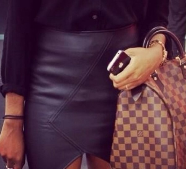 skirt leather half cut black bag