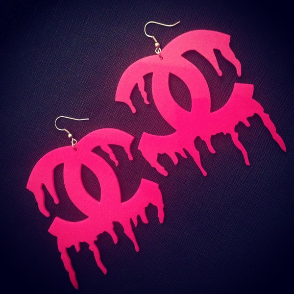 jewels earrings acrylic earrings pink urban bling dripping hot pink