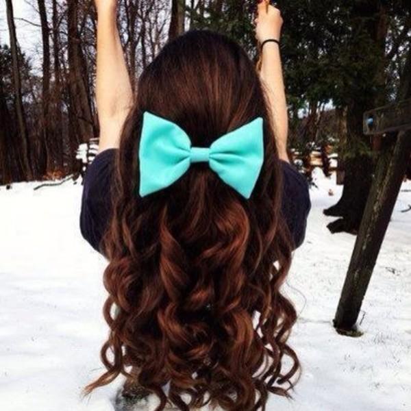 bow bows hair bow mint cute indie hair bow turquoise hair clip hair accessory hair curly hair long blue