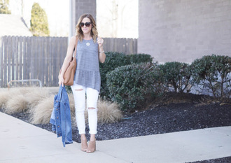twopeasinablog blogger top jeans shoes bag jacket jewels denim jacket shoulder bag white jeans peep toe boots