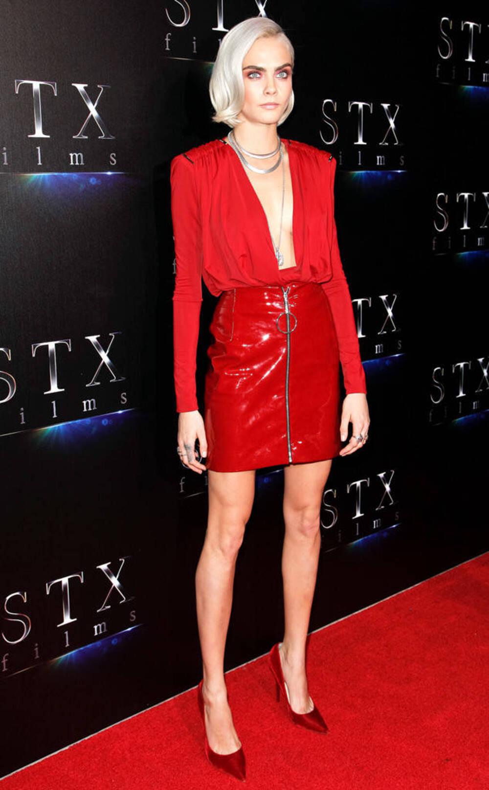 Cara Delevingne Cinemacon Red Dress Wheretoget