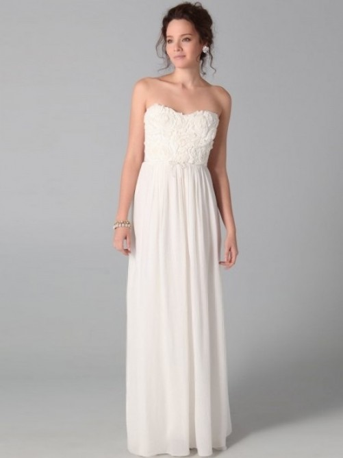 Strapless Ruffles Sleeveless Floor-length Chiffon Prom Dress