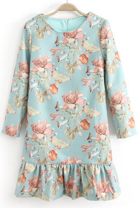 Vestido volante floral manga larga-Azul