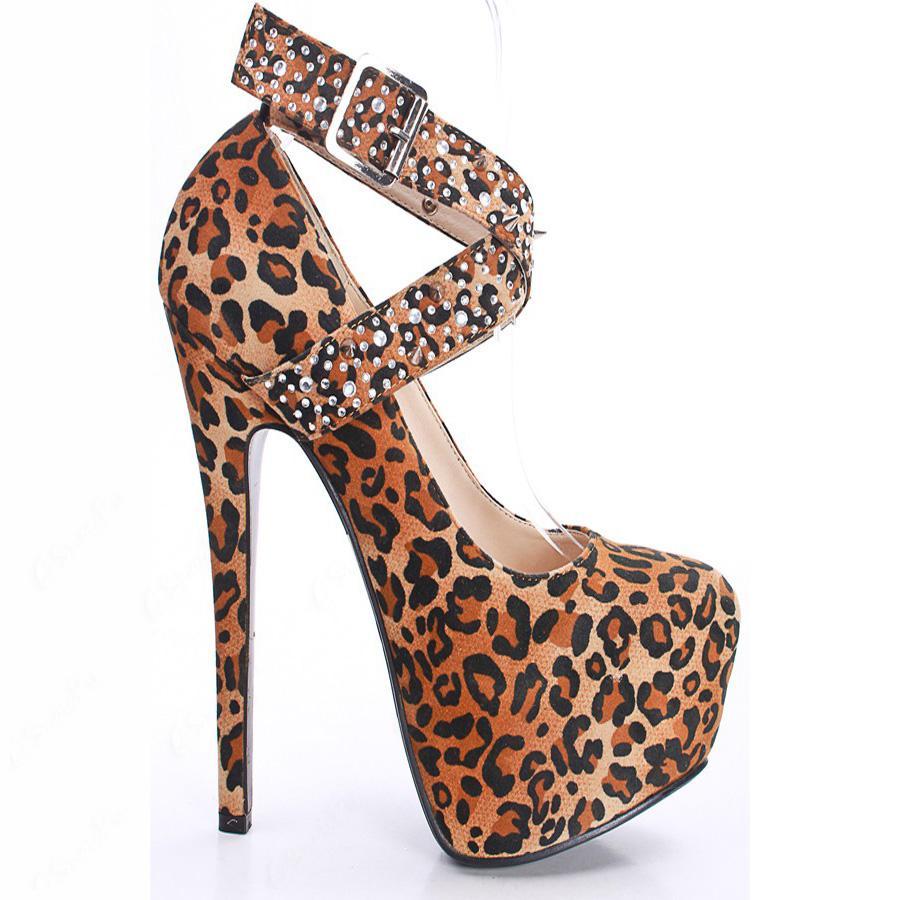 Sexy Leopard Suede Rhinestone Spike Cross Straps Platform Stiletto Heels