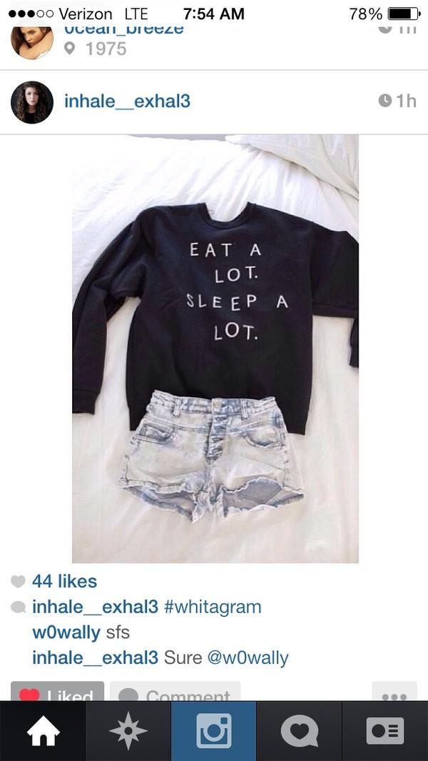 shirt black eat a lot sleep a lot