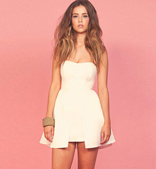 dress white dress strapless dress peplum dress ici fashion