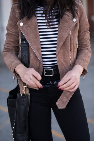 jacket tumblr suede suede jacket brown jacket top stripes striped top jeans black jeans belt bag black bag ring gold ring jewels jewelry gold jewelry