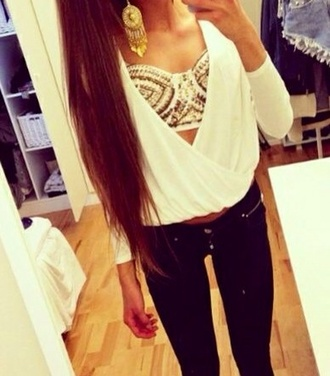 tank top blouse pants open front low cut