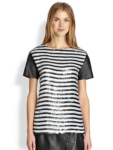 Rachel Zoe - Nichols Leather-Sleeved Sequined Striped Top - Saks.com