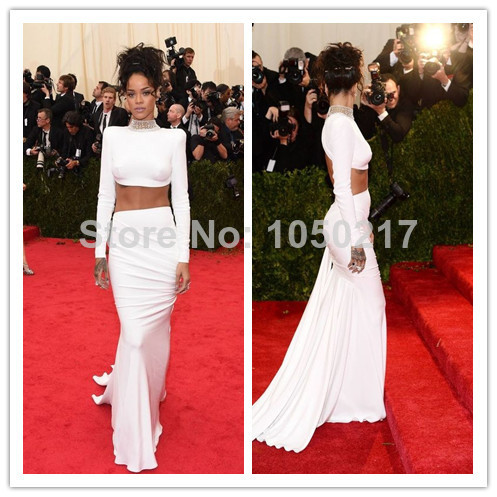 White Free Shipping Color Rihanna 2014 Met Gala Mermaid Red Carpet Dress Backless Full Sleeves Celebrity Dresses Custom Made-in Celebrity-Inspired Dresses from Apparel & Accessories on Aliexpress.com