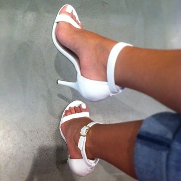shoes white shoes sandals heels