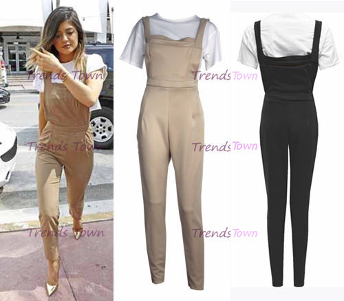 CELEBRITY INSPIRED KYLIE JENNER PINAFORE JUMPSUIT STONE & WHITE OR BLACK & WHITE | eBay