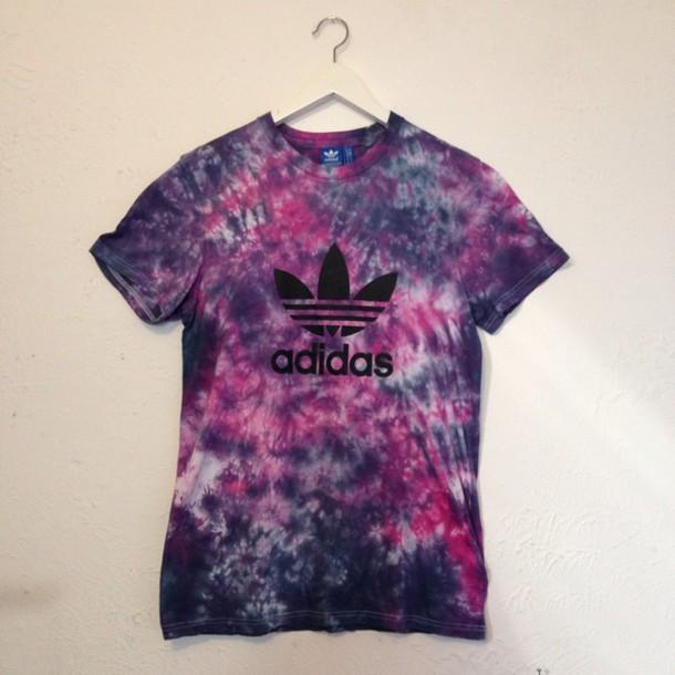 shirt adidas ask adi tie dye dyed berry scrunch handmade hand dyed originals trefoil