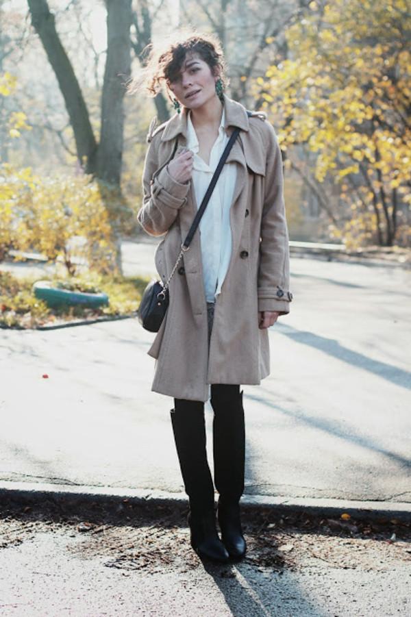 greenteanosugar coat bag skirt blouse shoes jewels