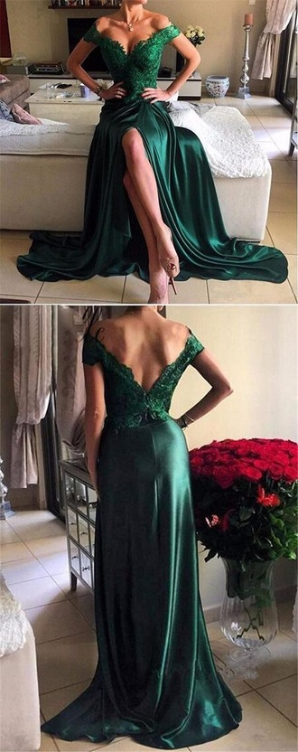 dress prom dress green lace dress off the shoulder off the shoulder dress emerald green