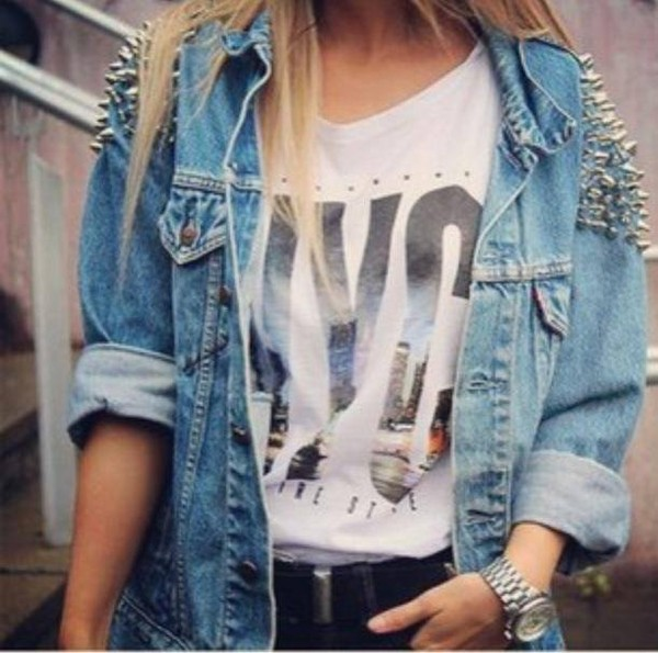 jacket jeans new york city clouté shirt