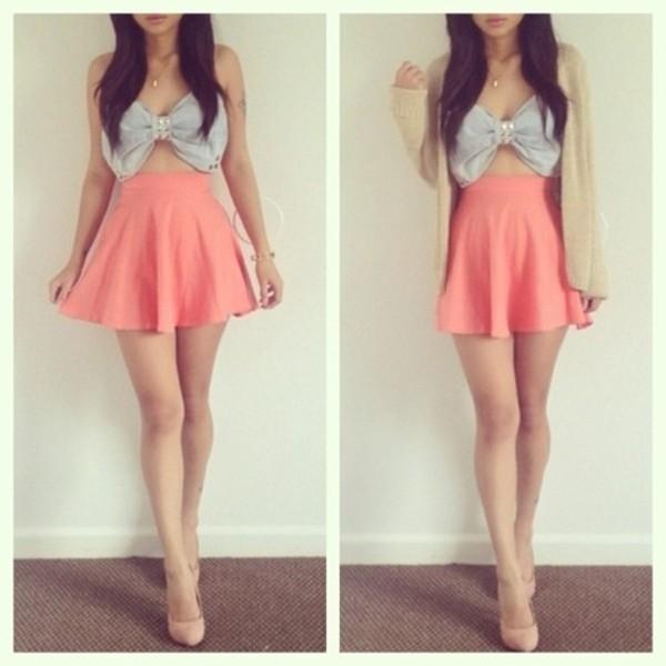 skirt bow shirt