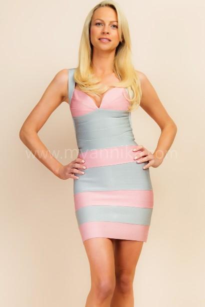 Marbella - Pink and Grey Wide Stripes Bandage Dress Annika - Bandage Dresses | Celebrity Party Dresses | Herve Leger Dresses Bandage dress detail
