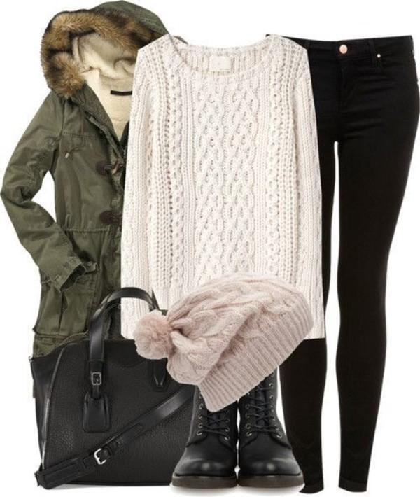 coat sweater boots tuque swimwear