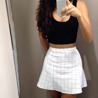 skirt lines white geometric supreme tight short stripes plaid skirt fashion crop tops top