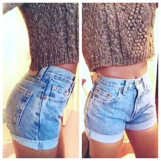 shorts ripped jeans hot sweater high waisted shorts denim shorts high waisted denim shorts pants light blue cool cute shorts blouse light wash denim denim levi's shorts jeans short highwaisted summer shorts high waisted demin shorts brown sweater wool sweater cropped sweater cute top similar to these jeans shirt
