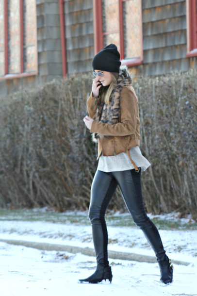 to be bright blogger leather pants scarf