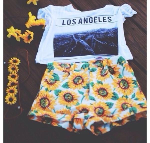 shirt los angeles street swag summer cute outfits hipster shorts t-shirt pants