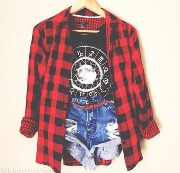 shirt checkered red shorts denim shorts denim top jacket t-shirt grunge