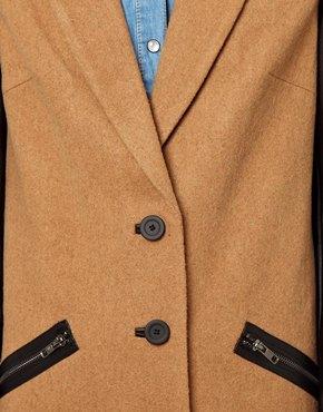 ASOS | ASOS Coat With Contrast Sleeve & Zip Detail at ASOS