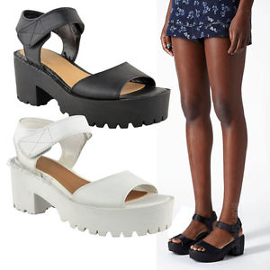 Platform Peeptoe Sandals Womens Chunky Wedge Cleated Sole Strappy Shoes | eBay