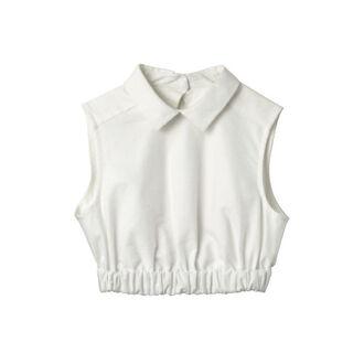 blouse lana del rey top elastic collar collar top tank top hipster indie white crop crop tops shirt collared