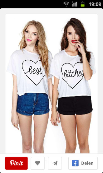 t-shirt best friends top bitch tops blonde hair brunette fashionista