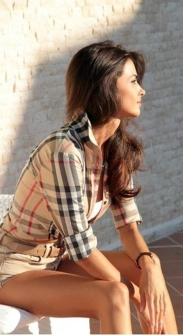 shorts plaid shirt plaid High waisted shorts cute watch baige white camisole beige belt blouse top belt bag