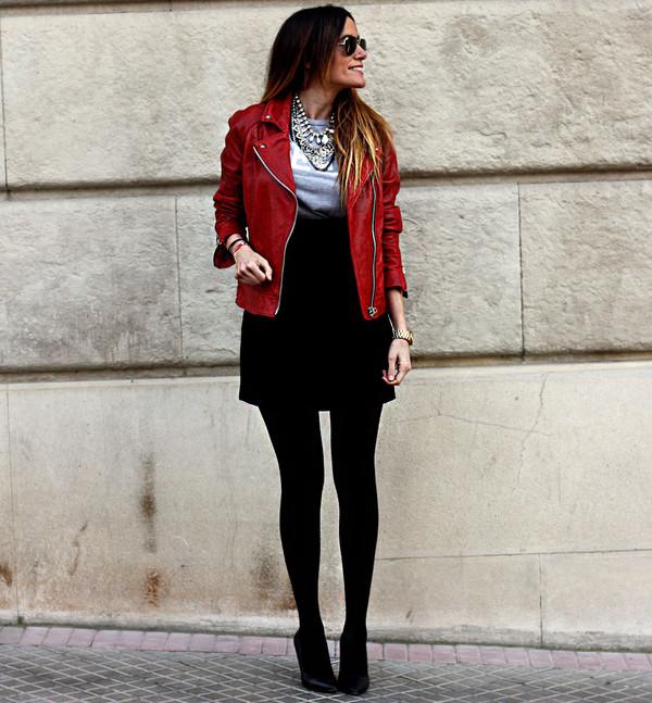 rebel attitude jacket t-shirt skirt jewels shoes