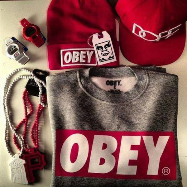 sweater obey red and grey hat shirt jacket dress obey obey sweatshirt dope swag grey red