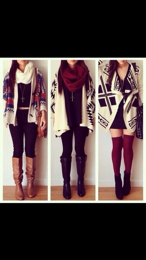 scarf sweater pants shoes tribal cardigan aztec cardigan cute coat