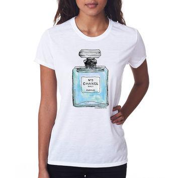 Chanel Perfume Inspired T-shirt; Blue (14-003) on Wanelo