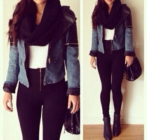 jeans black white t-shirt jacket shoes scarf back to school pants tank top