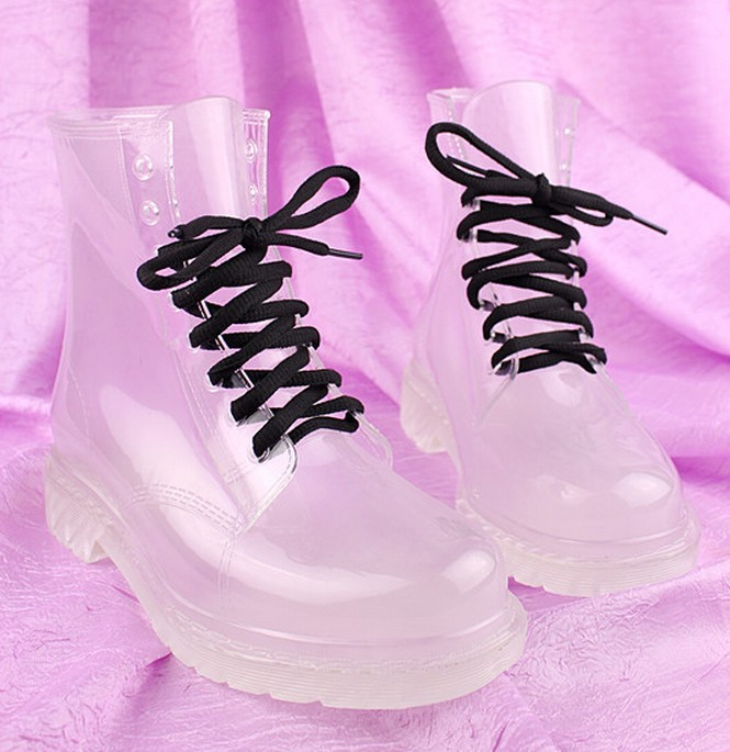 Clear Rain Boots Color Soles Lace Up Ankle Waterproof Transparent Jelly Shoes | eBay