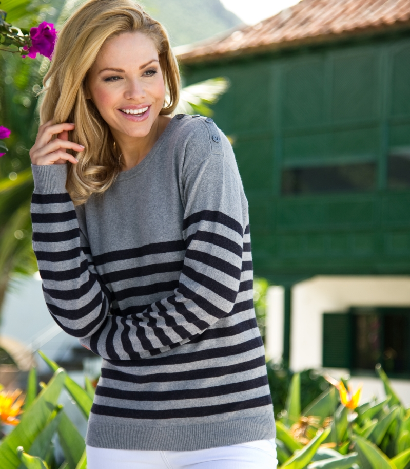 Striped Crew Neck Jumper | Buttoned Shoulder | Cotton & Cashmere  | Wool Overs