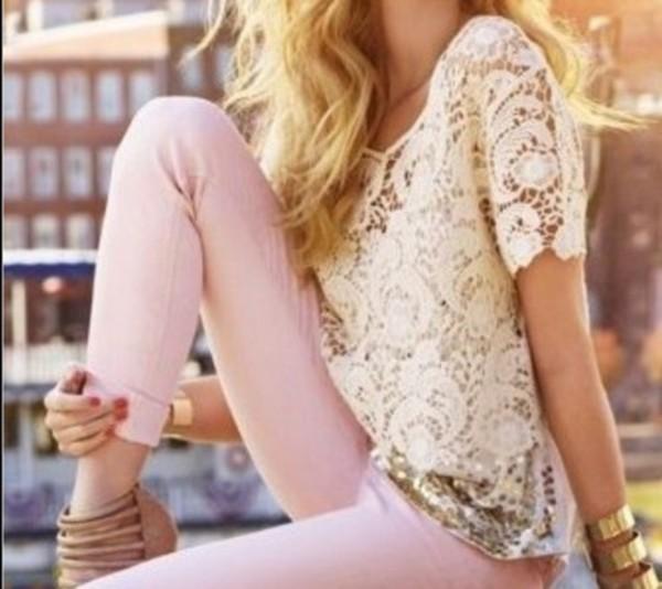 shirt white lace lace shirt lace pink jeans pretty pants pink jeans pink pants t-shirt