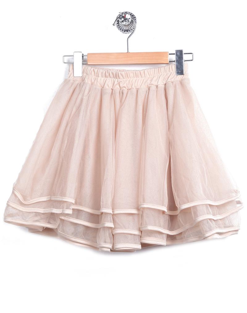 Apricot Elastic Waist Cascading Ruffle Lace Skirt - Sheinside.com