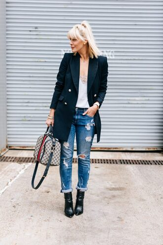 the courtney kerr blogger jacket jeans tank top shoes bag jewels ripped jeans blazer ankle boots handbag