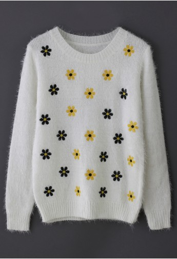 Daisy Floral Fluffy Sweater - Retro, Indie and Unique Fashion