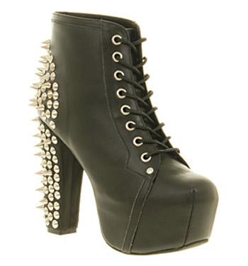 Jeffrey Campbell Lita Platform Ankle Boot Black Spike - Ankle Boots