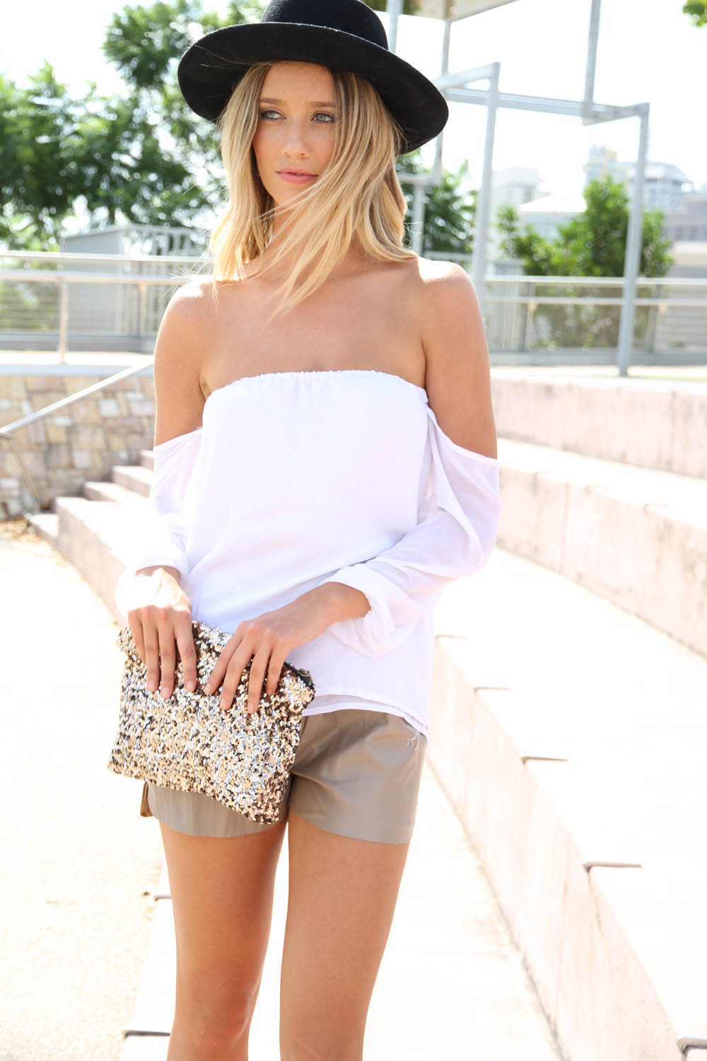 White Three-Quarter/Long Sleeve Top - White Chiffon Off the Shoulder | UsTrendy